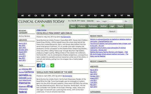 Screenshot of Products Page clinicalcannabistoday.com - REVIEWS Archive - Clinical Cannabis Today - captured Sept. 30, 2014