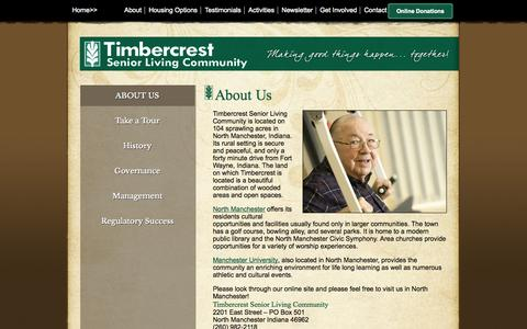 Screenshot of About Page timbercrest.org - About Us - Timbercrest Senior Living Community - North Manchester, Indiana - captured Oct. 7, 2014