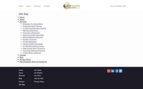 Screenshot of Site Map Page bizhealth.com.au - Site Map | BizHealth Consultants - captured Oct. 6, 2018