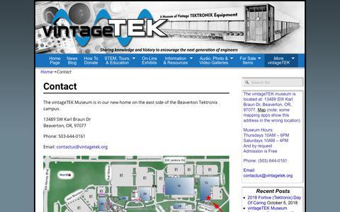 Screenshot of Contact Page vintagetek.org - Contact - captured Oct. 20, 2018
