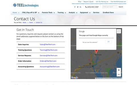 Screenshot of Contact Page teeltech.com - Contact Us - Teel Technologies - captured Aug. 10, 2019