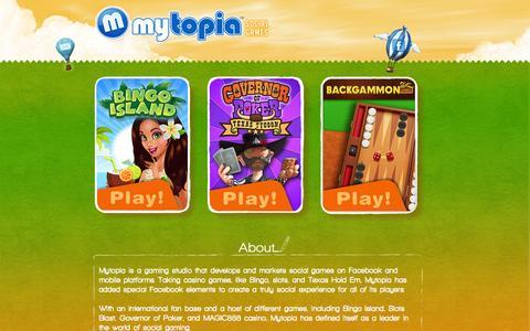 Screenshot of Home Page mytopia.com - Mytopia | Social Games Studio - captured Sept. 16, 2014