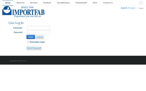 Screenshot of Login Page importfab.com - User Log In - captured Nov. 8, 2016