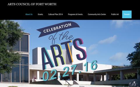 Screenshot of Home Page artsfortworth.org - Arts Council of Fort Worth - captured Feb. 6, 2016