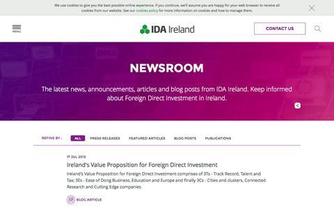 Screenshot of Press Page idaireland.com - IDA Latest News - IDA Ireland - captured July 20, 2015