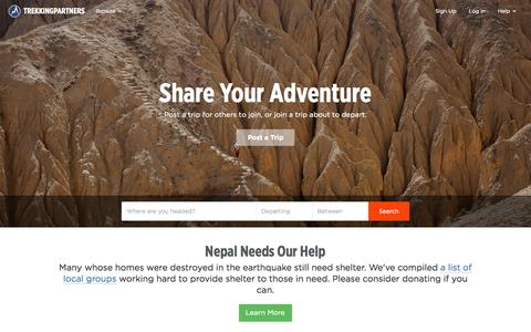 Screenshot of Home Page trekkingpartners.com - TrekkingPartners: Share Your Adventure - captured Oct. 1, 2015