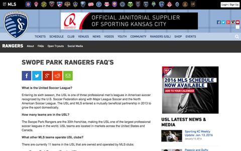 Screenshot of FAQ Page sportingkc.com captured Jan. 14, 2016