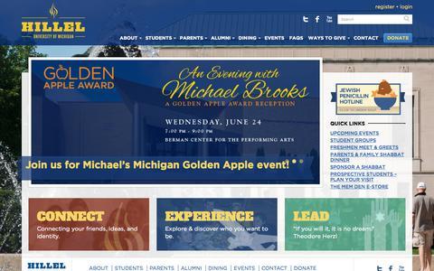 Screenshot of Home Page michiganhillel.org - Home - Michigan Hillel - captured June 22, 2015