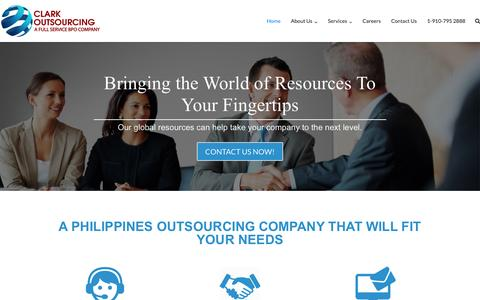 Screenshot of Home Page clarkoutsourcing.com - Clark Outsourcing – A full service BPO Company - captured Jan. 18, 2017