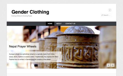 Screenshot of Home Page Menu Page genderclothing.com - Gender Clothing | Evolving Clothes for Evolving People - captured Sept. 29, 2014