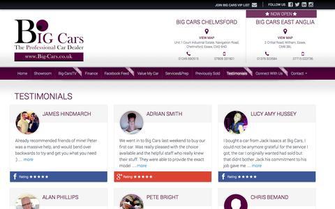 Screenshot of Testimonials Page big-cars.co.uk - Testimonials - Chelmsford, Essex, Big Cars Chelmsford - captured Oct. 4, 2014