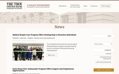 Screenshot of Press Page tsbfoundation.org - News - The Troy Savings Bank Charitable Foundation - captured April 22, 2017