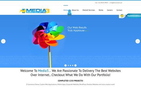 Screenshot of Home Page themedia3.com - Home | Media3 Creative Web Agency - captured Jan. 26, 2015