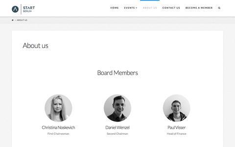 Screenshot of About Page start-berlin.com - About us | START Berlin - captured Sept. 23, 2017