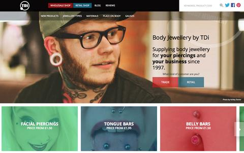 Screenshot of Home Page bodyjewellery.co.uk - Body Jewellery by TDi. Supplying body jewellery for your piercings and your business since 1997. - captured Jan. 23, 2015