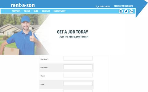 Screenshot of Jobs Page rentason.ca - Join the Rent-A-Son Family | Toronto's Best Movers & Moving Services - captured Oct. 20, 2018