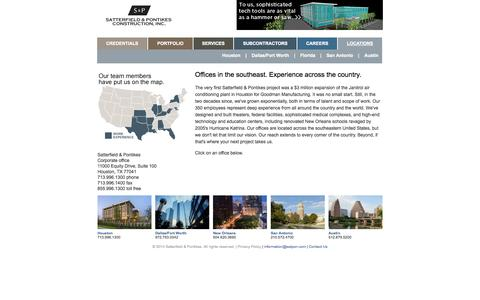 Screenshot of Contact Page Locations Page satpon.com - Satterfield & Pontikes Construction Inc. - captured Oct. 26, 2014