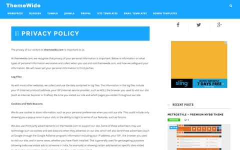 Screenshot of Privacy Page themewide.com - Privacy Policy - ThemeWide - captured Jan. 12, 2016