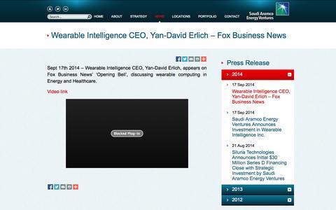 Screenshot of Press Page aramcoventures.com - Saudi Aramco Energy Ventures LLC -   News - captured Nov. 4, 2014