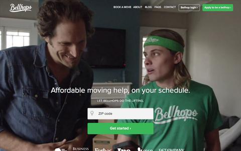 Screenshot of Home Page getbellhops.com - Bellhops: Your Local Movers | Moving Help Company - captured Feb. 18, 2016