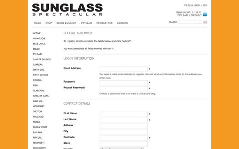Screenshot of Signup Page sunglassspectacular.com.au - Sunglass Spectacular - captured Sept. 30, 2014