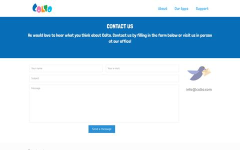 Screenshot of Contact Page colto.com - Contact us - We would love to hear what you think about Colto - captured July 20, 2018