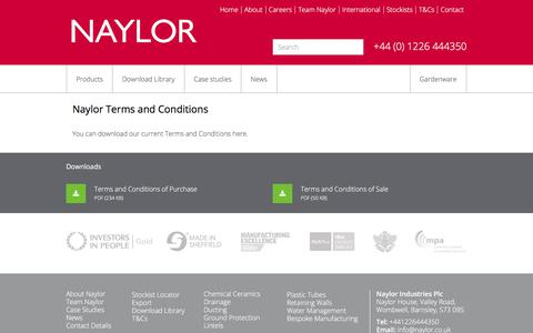 Screenshot of Terms Page naylor.co.uk - Naylor Industries terms and conditions | Naylor Drainage - captured Oct. 24, 2017