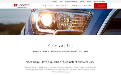 Screenshot of Contact Page toyota.com - Contact Us | Contact Toyota - captured July 19, 2019