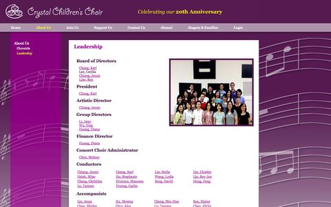 Screenshot of Team Page crystalchoir.org - Crystal Children's Choir - Leadership - captured Oct. 3, 2014