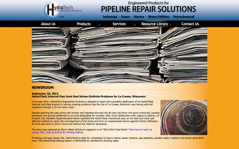 Screenshot of Press Page hydratechllc.com - Pipeline Repair Solutions | HydraTech Engineered Products | Newsroom - captured Oct. 3, 2014
