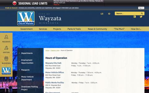 Screenshot of Hours Page wayzata.org - Hours of Operation | Wayzata, MN - Official Website - captured March 4, 2016