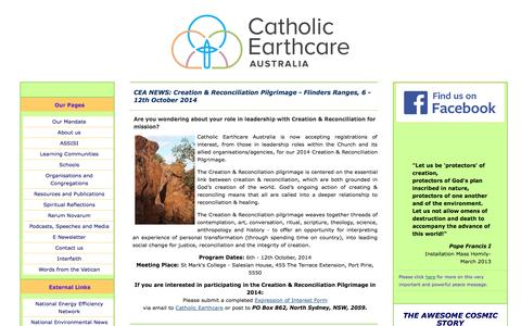 Screenshot of Home Page catholicearthcare.org.au - Catholic Earthcare Australia - captured Sept. 29, 2014