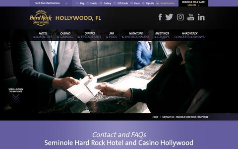 Screenshot of Contact Page seminolehardrockhollywood.com - Contact Us | Seminole Hard Rock Hollywood - captured Oct. 16, 2018