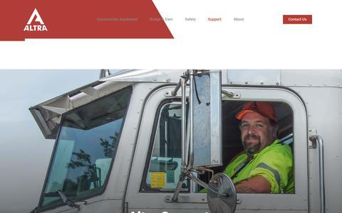 Screenshot of Support Page altrarentals.com - Service & Support for Construction Equipment   Altra Construction Rentals - captured Oct. 8, 2017