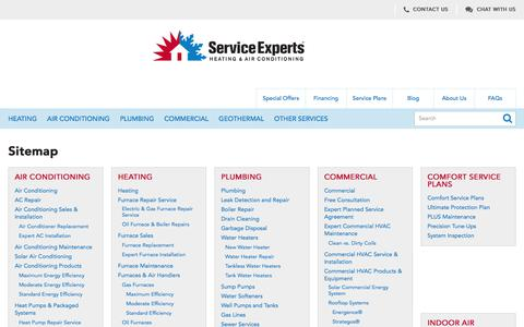 Sitemap | Service Experts Heating & Air Conditioning