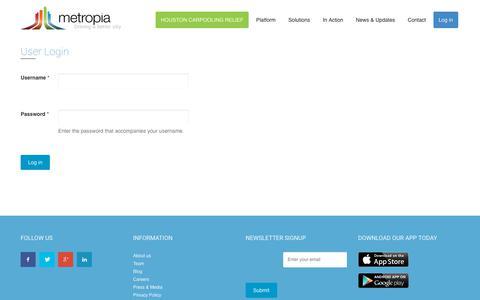 Screenshot of Login Page metropia.com - App Login | Metropia - Driving a Better City - captured Oct. 18, 2017