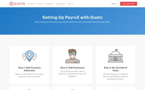 Screenshot of gusto.com - Getting Started with Gusto Payroll | Gusto - captured Dec. 16, 2016