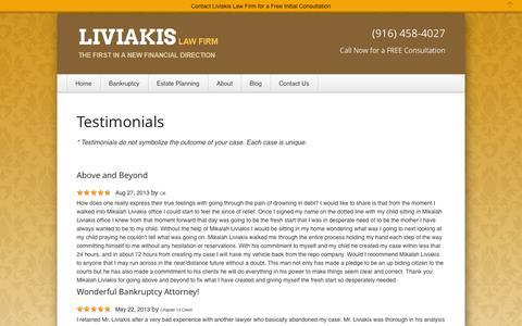 Screenshot of Testimonials Page liviakislaw.com - Testimonials | Liviakis Law Firm | Sacramento, California - captured Nov. 2, 2014