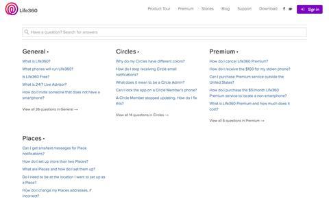 Screenshot of FAQ Page life360.com - FAQ   Life360 - The New Family Circle - captured Sept. 16, 2014