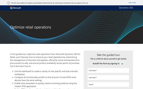 Screenshot of Landing Page microsoft.com - Optimize retail operations guided tour | Microsoft Dynamics 365 - captured Oct. 31, 2018