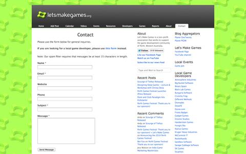 Screenshot of Contact Page letsmakegames.org - Contact «  Let's Make Games - captured Sept. 23, 2014