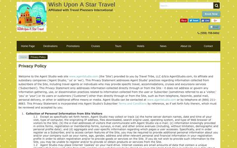 Screenshot of Privacy Page wishuponastartravel.com - Privacy Policy | Wish Upon A Star Travel - captured Nov. 7, 2017