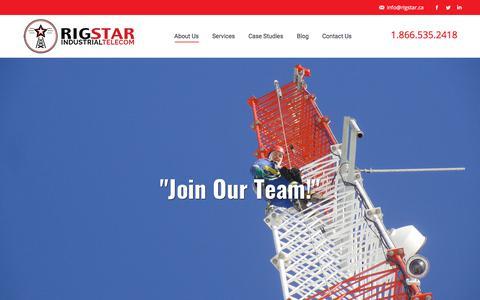 Screenshot of Jobs Page rigstar.ca - Careers – Rigstar Industrial Telecom - captured Oct. 26, 2017