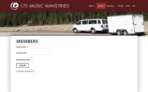 Screenshot of Login Page ctimusic.org - Members | CTI Music Ministries - captured July 10, 2017