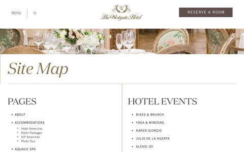 Screenshot of Site Map Page westgatehotel.com - Site Map - Westgate Hotel - captured Oct. 20, 2018