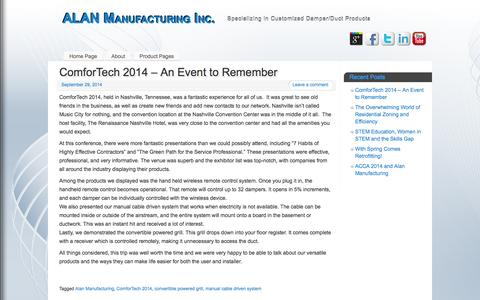 Screenshot of Blog alanmfg.com - ALAN Manufacturing Inc. - captured Oct. 4, 2014