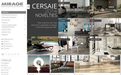 Screenshot of Home Page mirage.it - Mirage, ceramic tiles for floors, walls and ventilated facades. Porcelain stoneware tiles made in Italy for interior design and architecture.Homepage | Mirage - captured Sept. 25, 2014