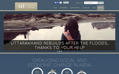Screenshot of Home Page aif.org - American India Foundation   Catalyzing social and economic change in India. - captured Sept. 19, 2014