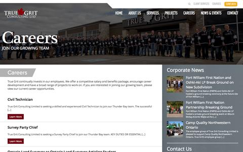 Screenshot of Jobs Page tgcl.ca - Careers | True Grit Consulting Ltd. - captured Oct. 9, 2014