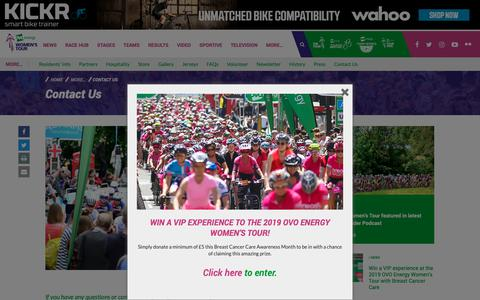 Screenshot of Contact Page womenstour.co.uk - The OVO Energy Women's Tour | Contact Us - captured Oct. 29, 2018